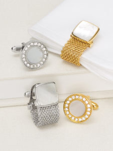 mens accessories with mixed metals: cufflinks and watch bands