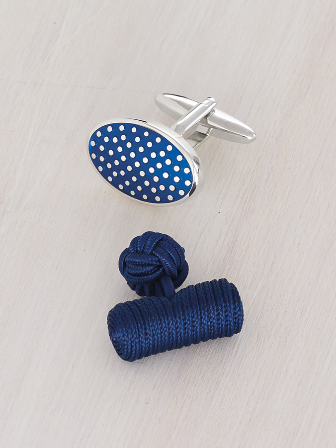 blue polka dot and knotted silk cufflinks