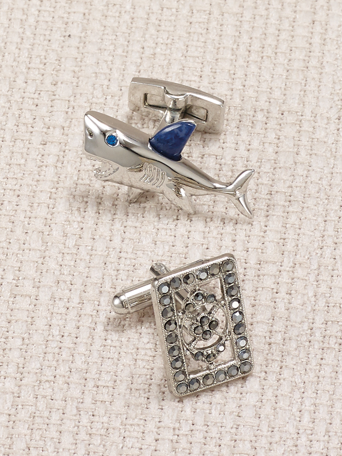 silver shark and crystal cufflinks