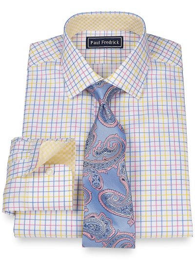2-Ply Cotton Grid Jermyn Street Collar Button Cuff Dress Shirt