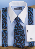 blue monochromatic dress shirt with tie and suspenders