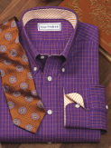 purple dress shirt with orange tie