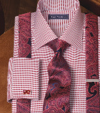 red monochromatic dress shirt with suspenders and tie