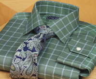 green dress shirt with blue and green tie