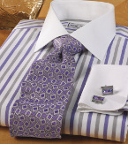 white striped dress shirt with purple and gray coloring