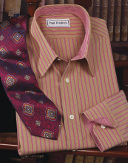 pink and orange striped dress shirt
