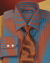 blue dress shirt with orange stripes and tie
