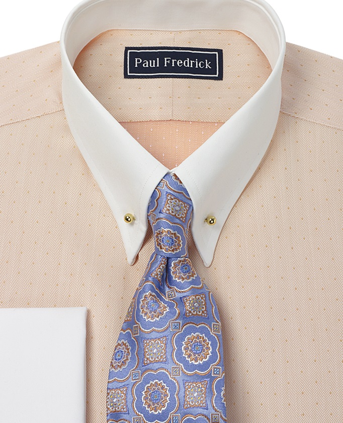 A guide to dress shirt collars the paul fredrick blog for Snap tab collar shirt