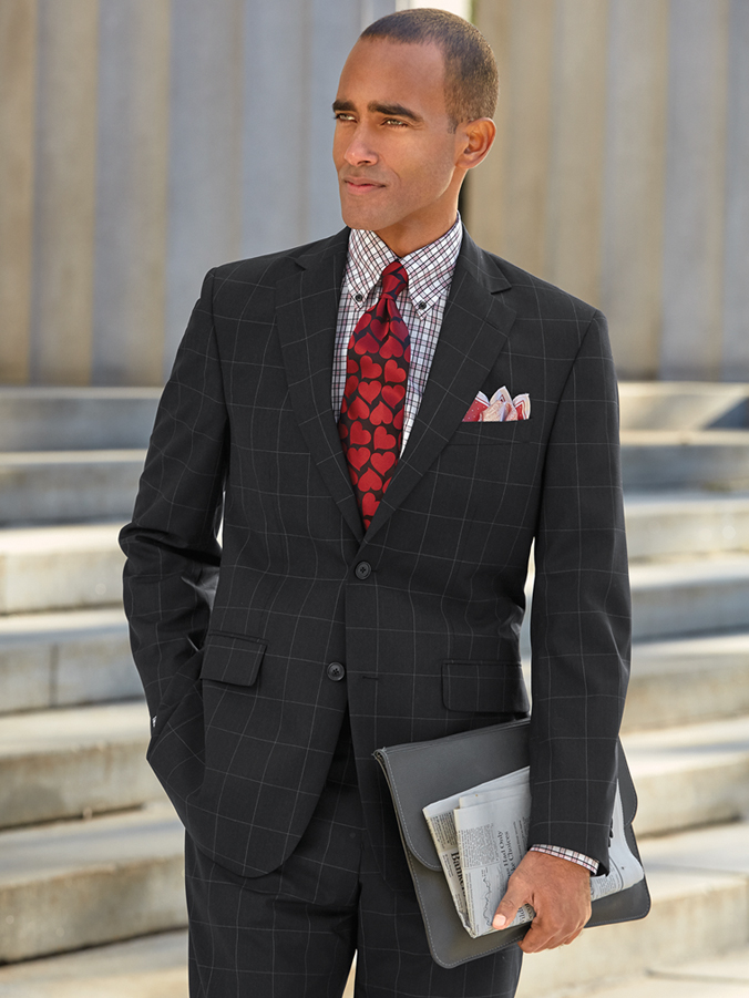 Super 120's Wool Windowpane Suit